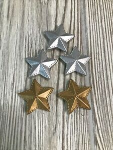 Vintage Set Of 5 Silver And Gold Star Button Covers