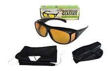 Night Driving Glasses - Night Vision, Anti Glare - with Clip Holder - Wear With