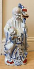 "More details for large chinese ceramic statue deity god art figure bird famille rose 12 .5"""