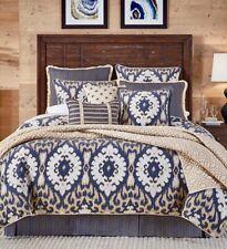 CROSCILL KAYDEN Ikat Blue King Comforter Set 4 Piece New In Package