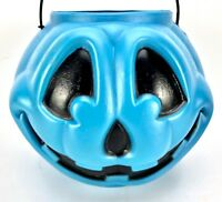 "Vtg Blow Mold Candy Pail Pumpkin Face Bucket Halloween Trick or Treat Blue 9""x7"""