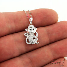 "Sterling Silver smiley monkey Necklace with CZ stone adjustable 16"" to 18"" N129"