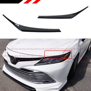 FOR 2018-2021 TOYOTA CAMRY GLOSSY BLACK HEADLIGHT EYELID EYE LID COVER EYEBROWS
