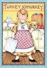 Mary Engelbreit-TURKEY SCHMURKEY Cherry Apron-Thanksgiving Card w/Envelope-NEW