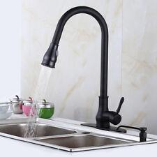 "18"" Kitchen Sink Faucet Black Bronze Pull-Out Spray Swivel Spout Dispenser New"