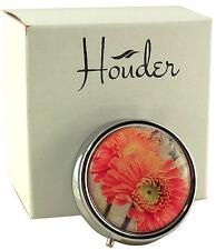 Cute Pill Box For Purse Decorative Pill Case Orange Daisy Holder Mint Case Metal