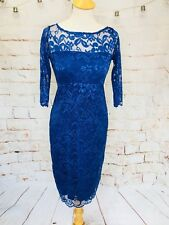 STUNNING NAVY LACE WIGGLE DRESS 3/4 SLEEVES DITZY SIZE 8 Wedding Races Cruise