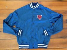 "Vintage 80s Chicago Bears NFL Shiny Nylon Baseball Patch Mascot Jacket 45"" M USA"