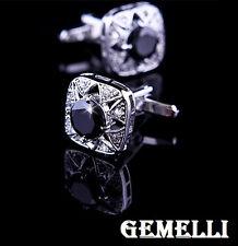 qualcosa NERO cristallo GEMELLI CAMICIA UOMO el. SWAROVSKI CERIMONIA matrimonio