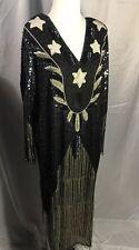 100% Pure Silk Beaded Dress Size 40? Vintage? Stars Beaded White Black Navy