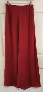 Ladies Size 10 Burgundy Red Wideleg Dress Pants - Chica booti