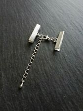 5 sets Silver Plated Crimp Ends for 25mm (1 inch) Ribbon with Clasps & Extender
