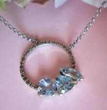 Judith Jack GEOMETRICS Sterling Silver BlueCubic Zirconia Marcasite Necklace NWT