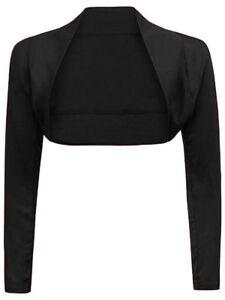 Womens Plain Shrug Long Sleeves Cropped Bolero Top Ladies Cardigan  Size 8-26