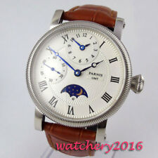 42mm PARNIS Weiß dial moon Phase 17 jewels Handaufzug Movement Uhr men's Watch