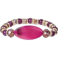 New Fuchsia Purple Dyed Agate Crystal Stretch Bracelet with Beads and Roundels