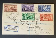 1936 New Zealand British Columbia Canada Registered First Day Air Mail Cover
