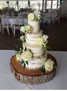 "16"" sanded and oiled wooden rustic log Cake Stand for weddings & celebrations"