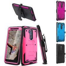 For ZTE Max XL N9560 / Blade Max 3 Hybrid Clip Kickstand Armor Phone Case Cover