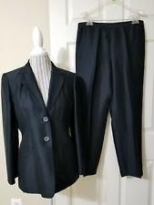 ANN TAYLOR Luxurious Black 100% Silk 2 Pc Ladies Pant Suit Sz.12P - New