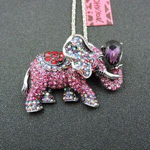 Betsey Johnson AB Pink Crystal Rhinestone Elephant Pendant Necklace/Brooch