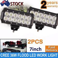 2x 7INCH 36W CREE FLOOD LED WORK DRIVING LIGHT BAR OFFROAD TRUCKS HIGH POWER