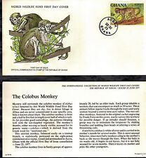 GHANA 1977 FIRST DAY COVER WITH CARDS - WORLD WILDLIFE FUND - ANIMALS