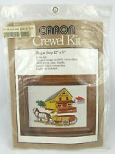 "CARON Crewel Embroidery Craft Kit 12 x 9"" Wagon Stop VTG 1978"