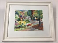 Beautifully Framed Signed Watercolor Small Town Street Scene