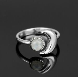925 Sterling Silver Moonstone Ring Ladies Sun Moon Jewellery Gift Jewelry