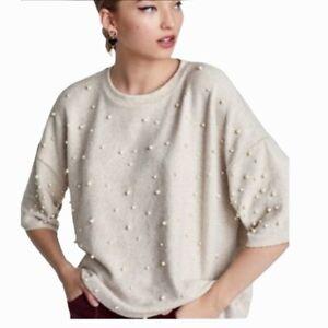 Zara Soft Dolman Sleeve PEARL Studded Sweater S/M