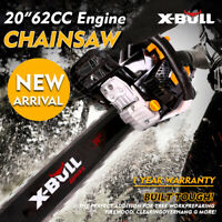 "X-BULL 62cc Chainsaw 20"" Bar PoweredSaw Engine 2 Cycle Chain Gasoline"