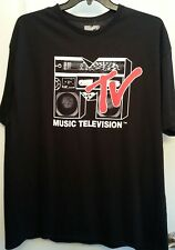 Black Short Sleeved Graphic T-Shirt Mens Size 2XL MTV Music Television Boombox