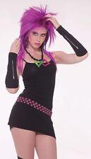 1980's Black Zipper Glovelets Goth Emo Fancy Dress Punk