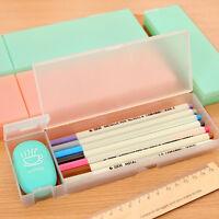 Kawaii Transparent Plastic Pencil Case Pen Box Gift Office School Supplies DD