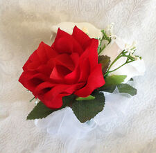 Red Corsage ~ Pin On Roses Calla Lilies Mother's Silk Wedding Flowers Prom New!