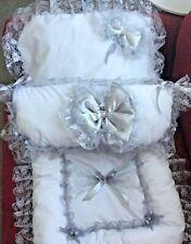 White & grey   Dolls pram cover With matching pillow slip