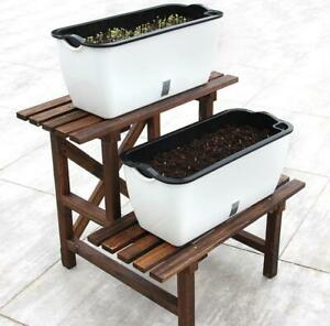 Self-Watering Plastic Flower Plant Pot House Windowsill Planter Trough White UK