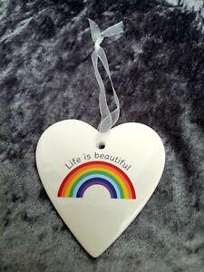 Life Is Beautiful Rainbow Ceramic Hanging Heart Decoration LGBTQ