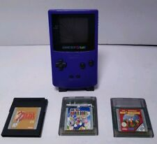 Game Boy Color Grape/Purple, 3 games, Zelda Dx & Mario Deluxe, Tested & Working