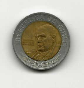 World Coins - Chile 500 Pesos 2002 Bimetallic Coin KM# 235