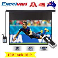 100-Inch 16:9 Electric Motorized HD Projector Screen Home Theatre Remote Control