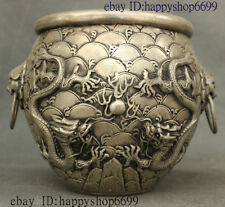 China Silver Fengshui Wealth Double Dragon Beast Lion Head Incense Burner Censer