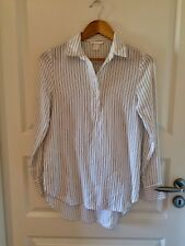 H & M Long Bluse 34 XS weiß schwarz Nadelstreifen Tunika Büro Viskose Vokuhila