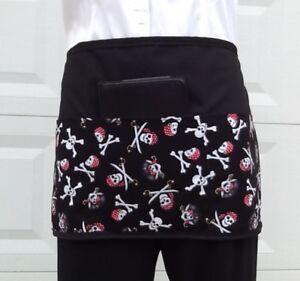 Black Skulls server waitress waist Half apron 3 pockets  restaurant