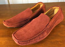 Saks Fifth Avenue Men's Loafers Suede Red/Burgundy Shoes Size 10M