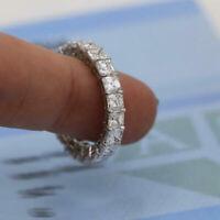 3.00Ct Asscher Cut Diamond Full Eternity Band Wedding Ring 14k White Gold Finish