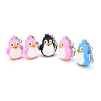 Cute Animal Penguin LED Light With Sound Key Chain Keyring Ring Torch Gift MO