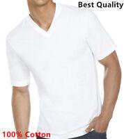 New 3 Pack Men's 100% Cotton Tagless V-Neck T-Shirt Undershirt Tee White S-XL