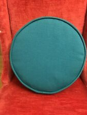 "Circle Throw Pillow 14""x3.5"" Turquoise Blue Wool Blend"